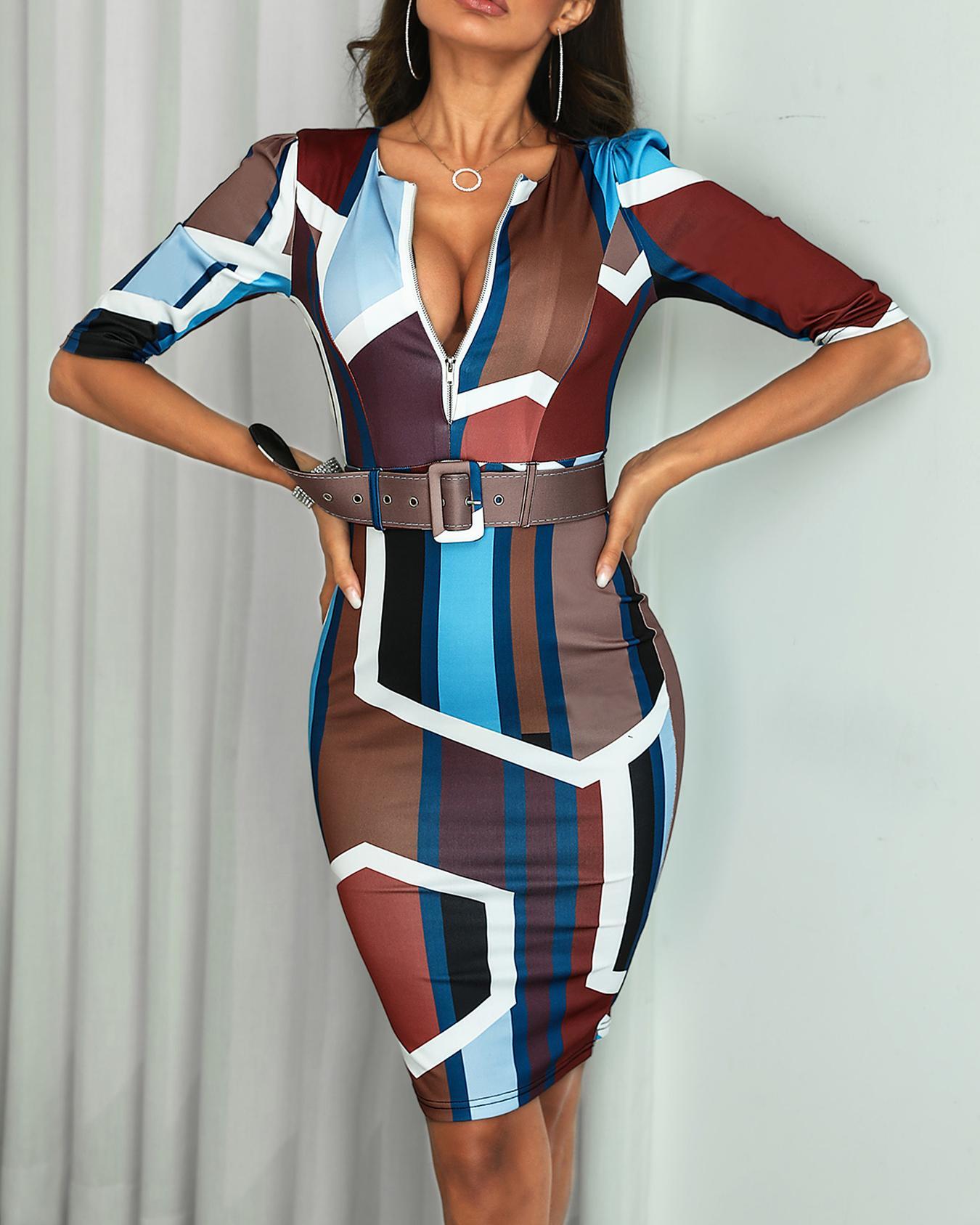 Geo Print Zipper Belted Skinny Dress