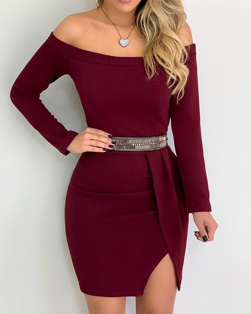 Off Shoulder Long Sleeve Slit Bodycon Dress(Without Belt) фото