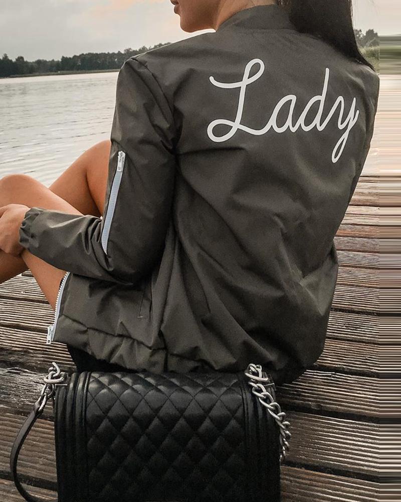 Letter Print Zipper Design Long Sleeve Jacket фото