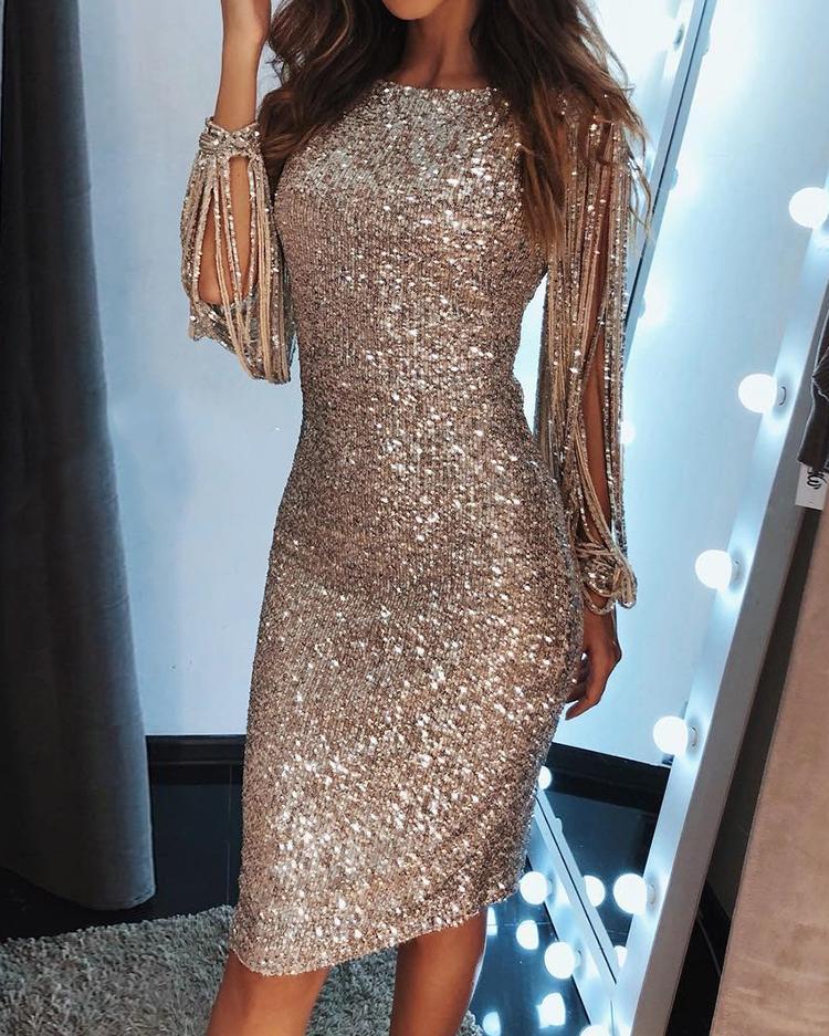 Tassel Detail Sequin Party Dress фото