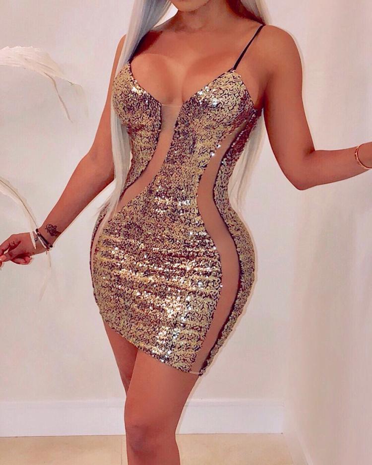 Mesh Splicing Bodycon Cami Sequin Dress