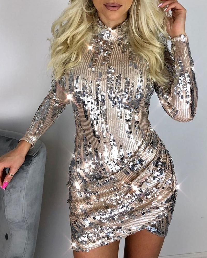 Glitter Mock Neck Long Sleeve Sequins Bodycon Dress фото