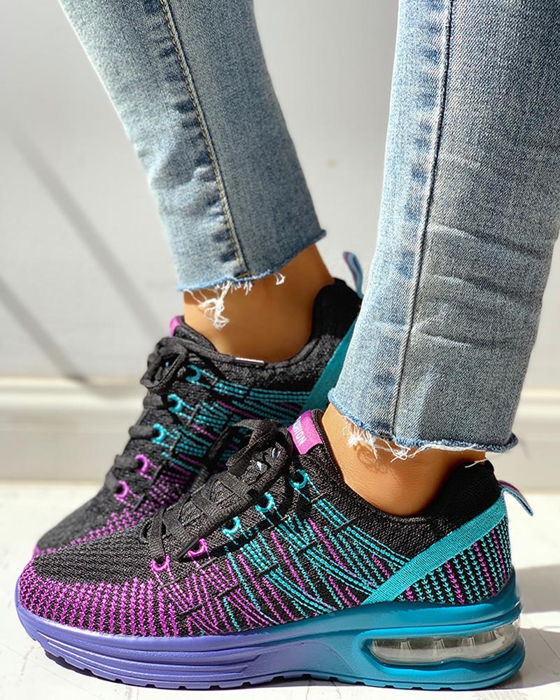 chicme / Zapatillas con cordones transpirables de punto Colorblock