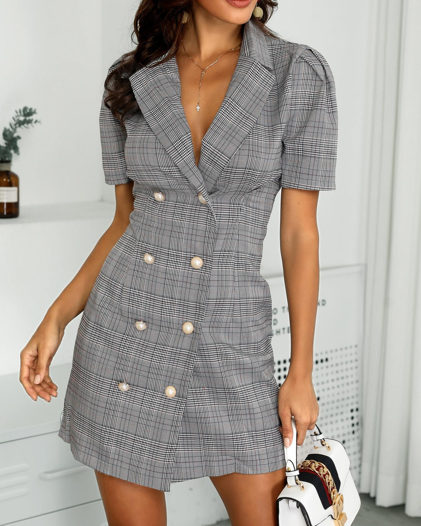 Plaid Double Breasted Blazer Dress фото