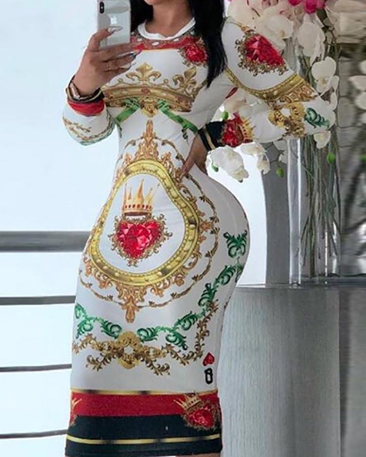 Totem Print Long Sleeve Midi Dress фото
