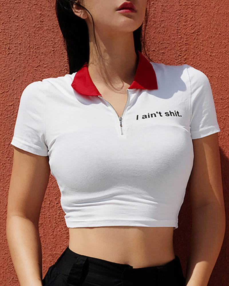 Letter Print Zipper Crop T-Shirt фото