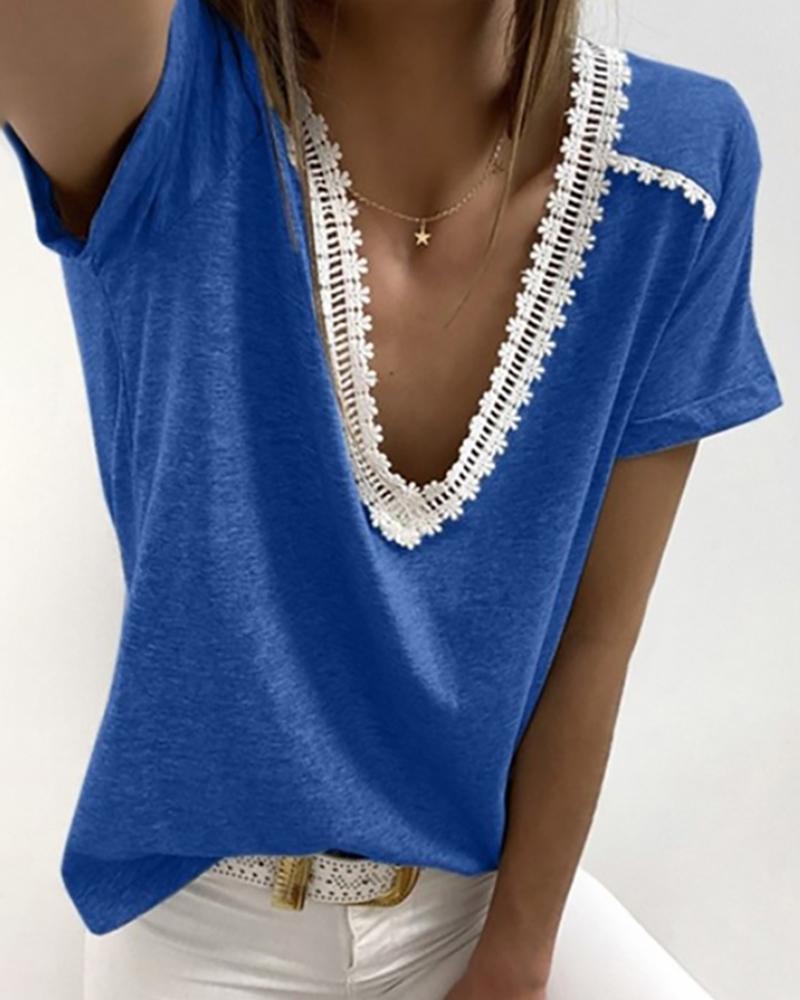 V-neck Crochet Lace Casual T-shirt фото