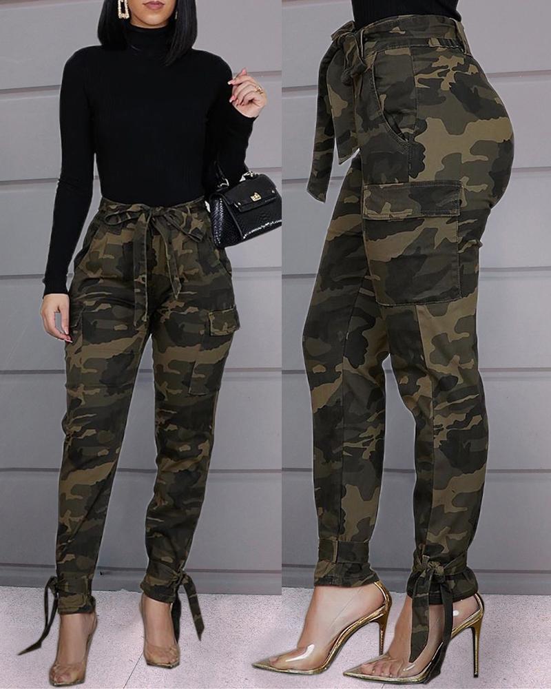 ivrose / Pantalones casuales de camuflaje atados