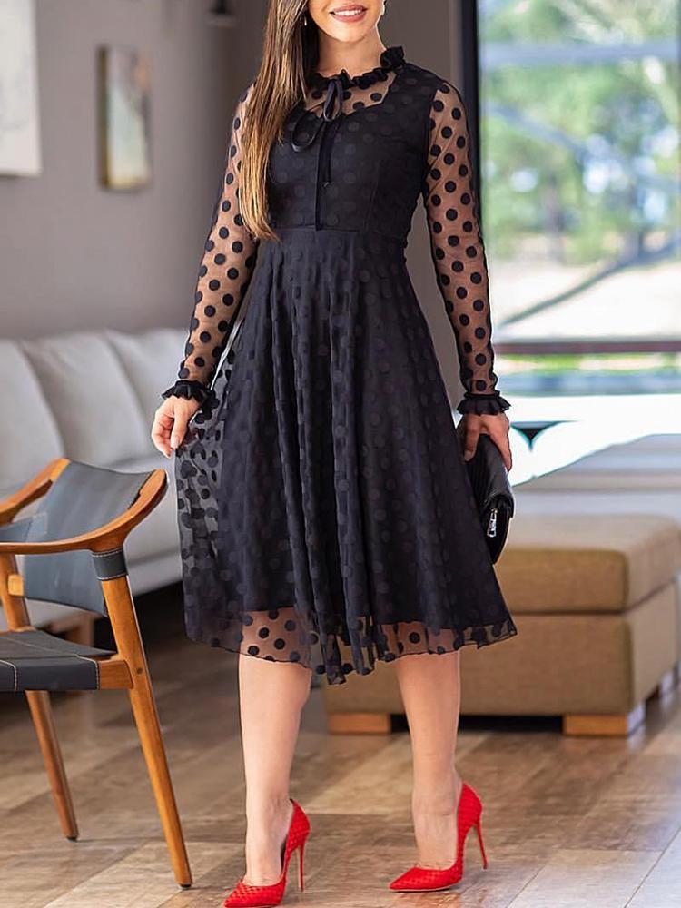 Polka Dot Sheer Mesh Long Sleeve Dress