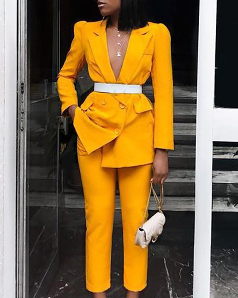 chicme / Gola entalhada Blazer trespassado e conjuntos de calças