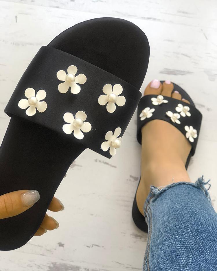 Floral Embellished Single Strap Flat Sandals фото