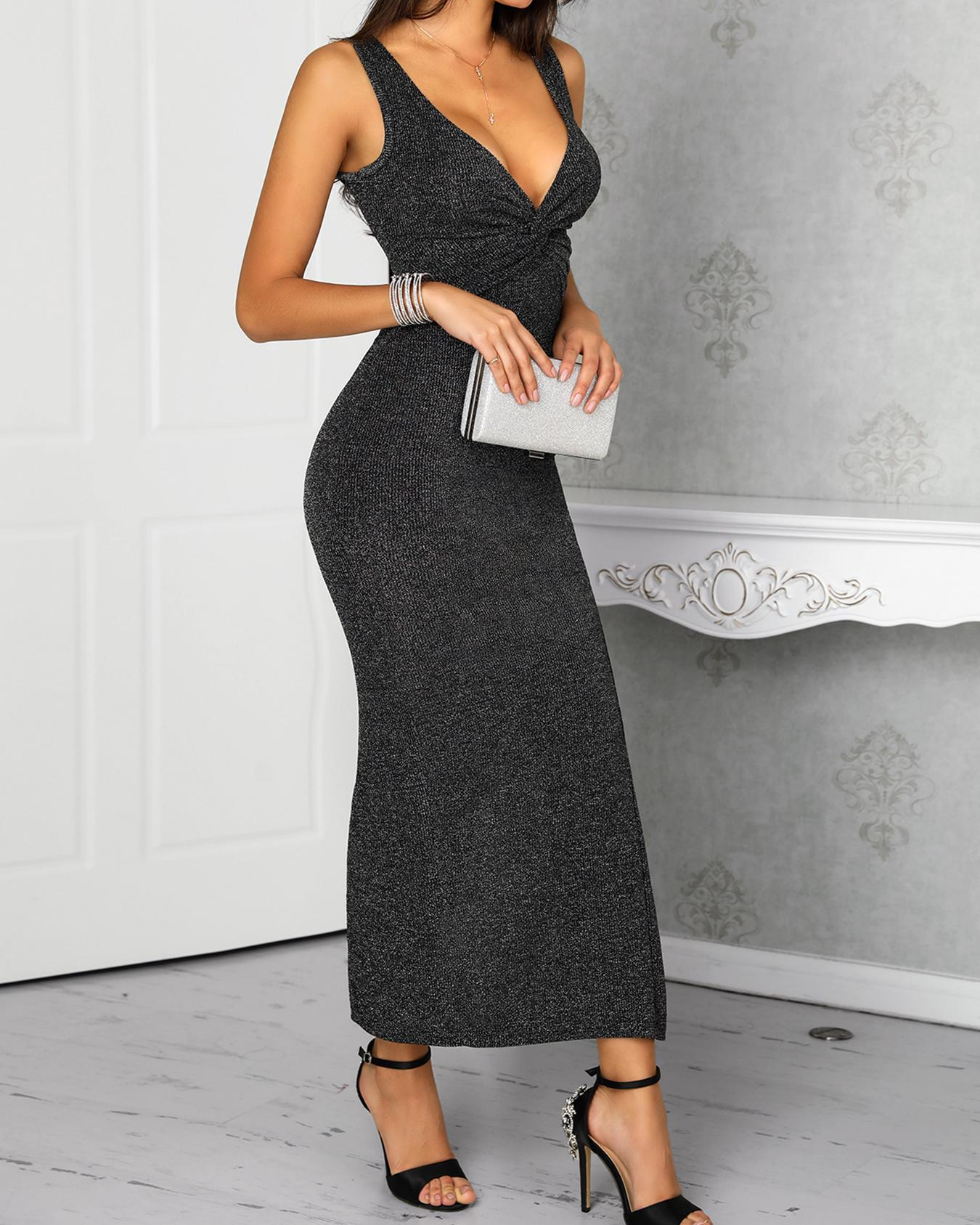 Deep V-Neck Ruched High Slit Evening Dress фото