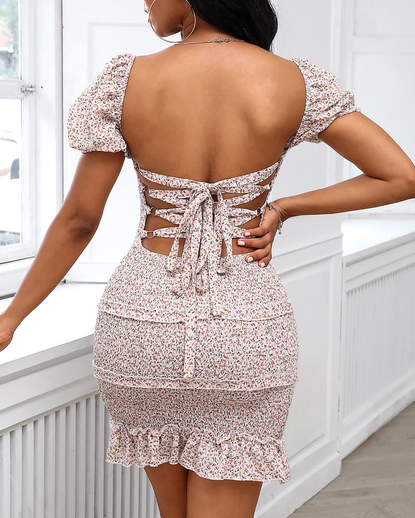 Floral Bandage Backless Frill Hem Shirring Design Dress фото
