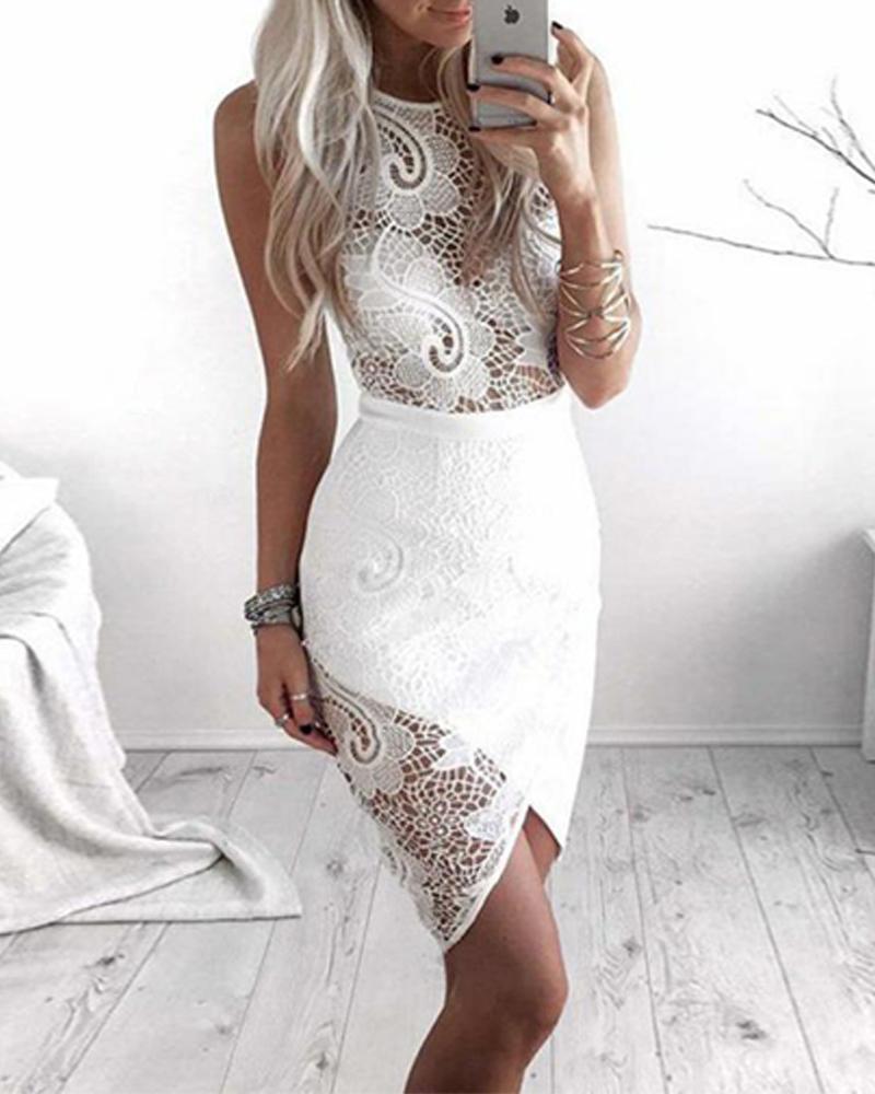 Wrapover Hem Sheer Lace Dress фото