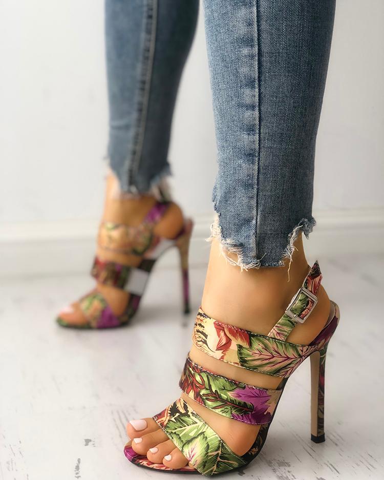 Leaf Print Bandage Thin Heeled Sandals фото