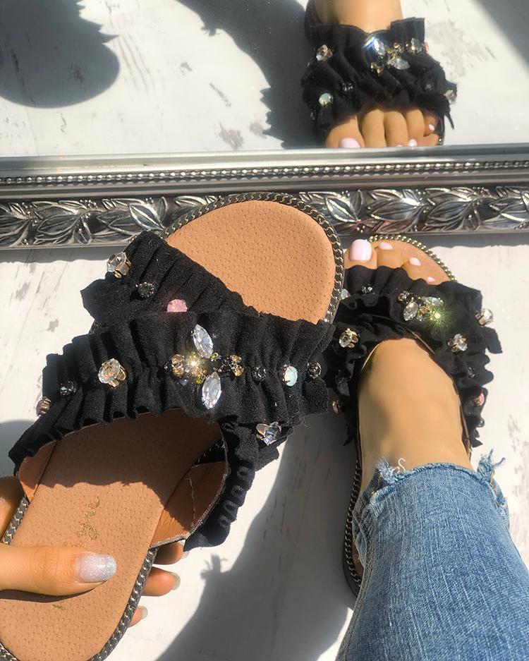 Fashion Shiny Crisscross Peep Toe Slippers