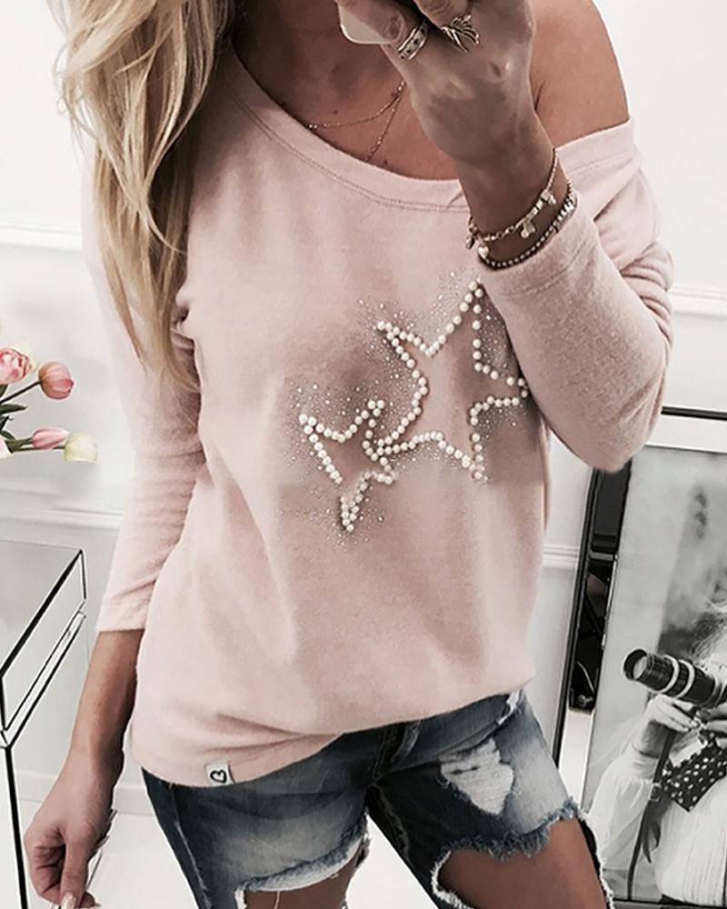 Star Beaded Design Casual Sweatshirt фото