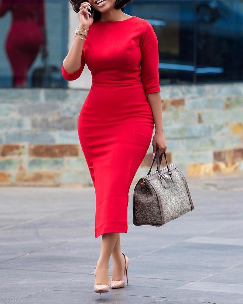 chicme / Solid Half Sleeve Midi Dress