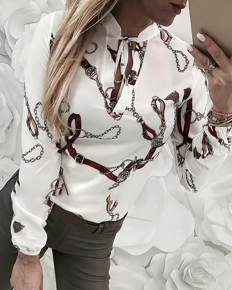 Chain Print Tied Long Sleeve Shirt фото