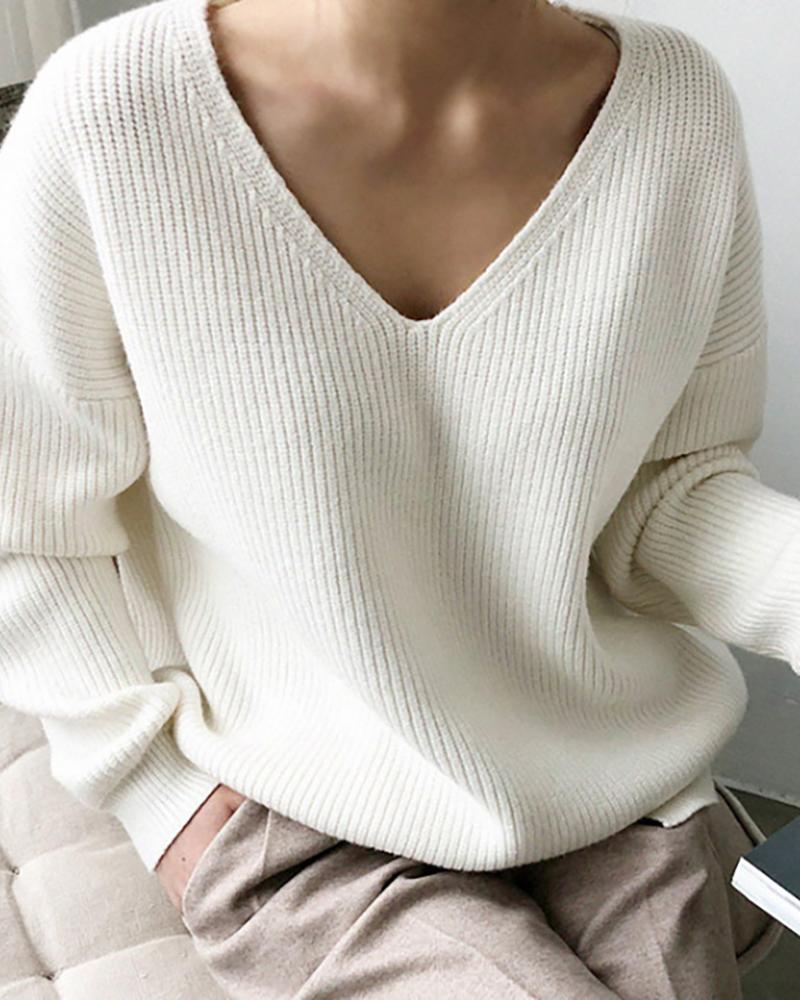 Solid V-Neck Knit Casual Sweater фото