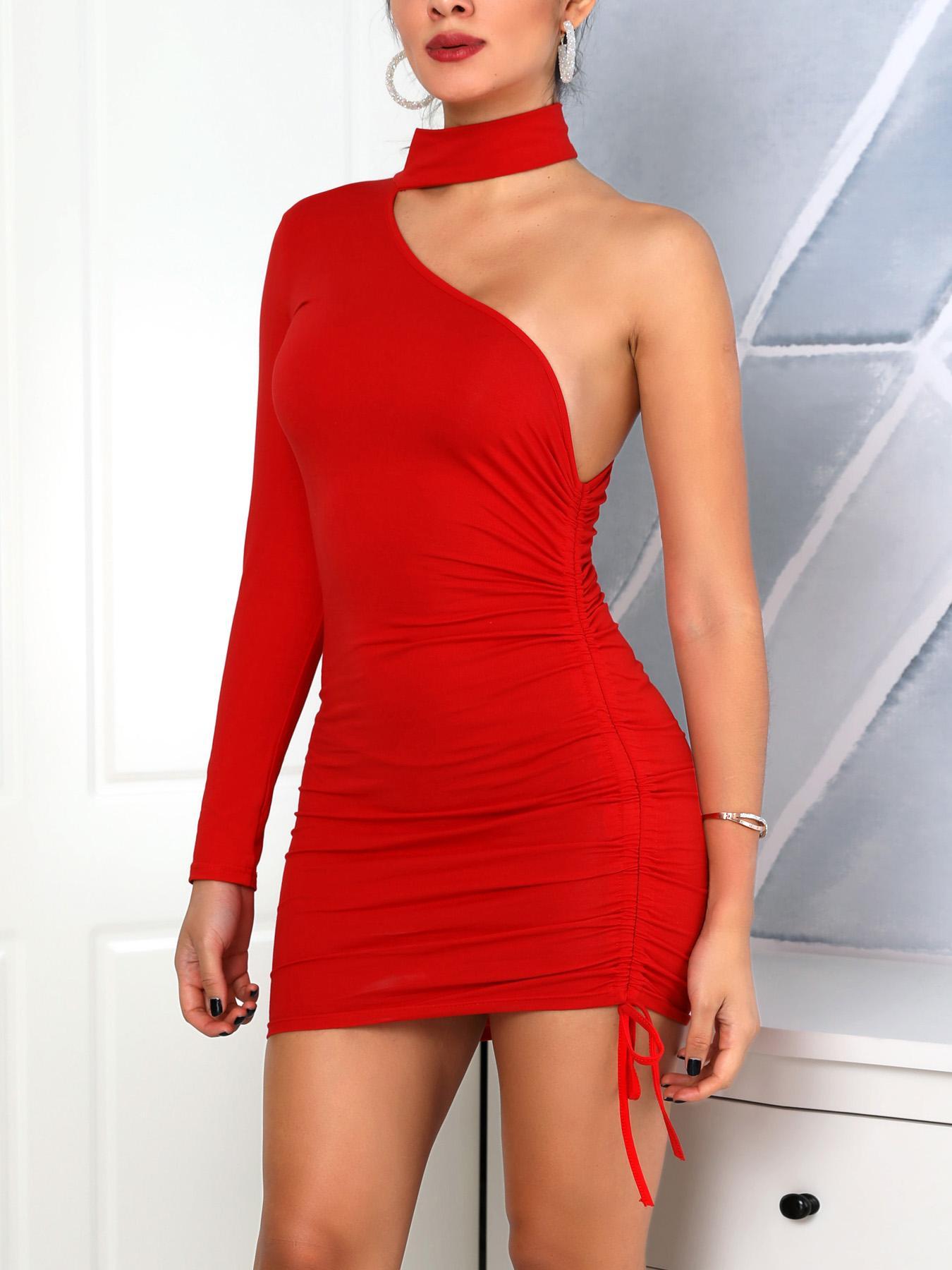 Long Sleeve One Shoulder Drawstring Dress, Red