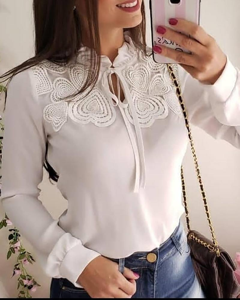 Heart Pattern Lace Trim Casual Blouse фото