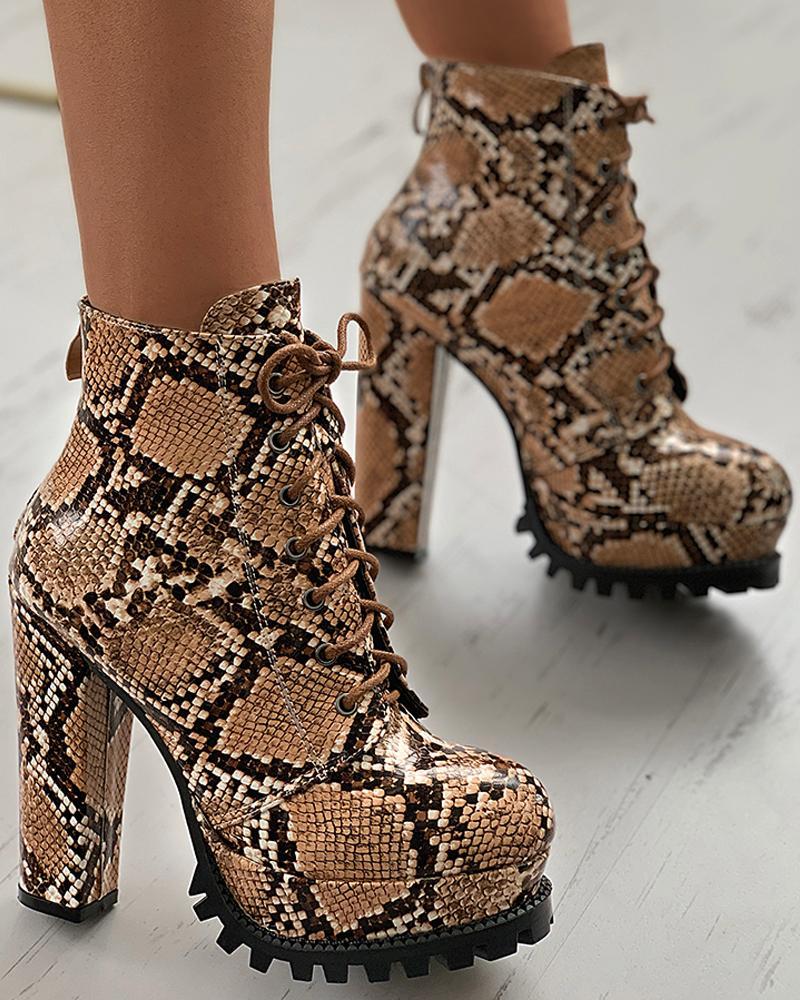 Snakeskin Eyelet Lace-up Chunky Heels