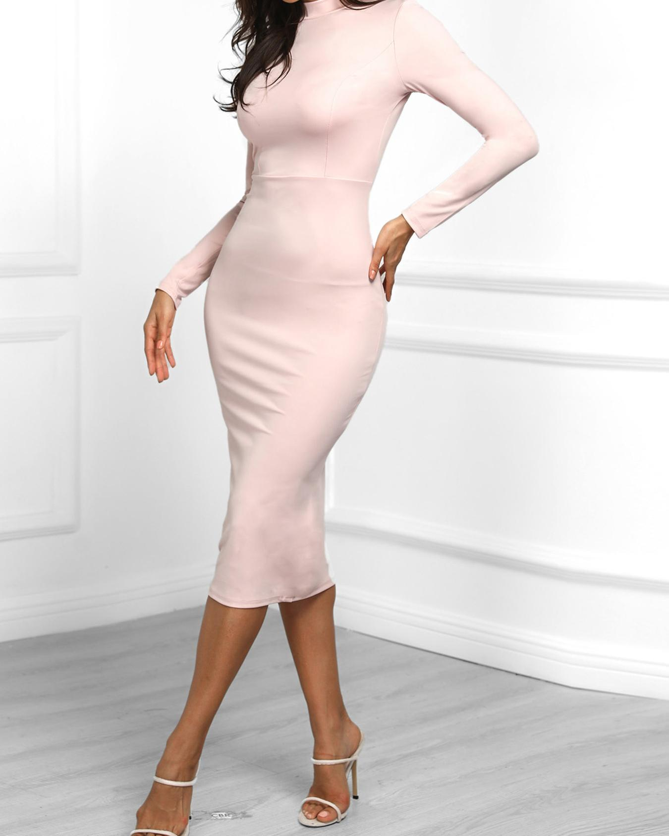 Solid Long Sleeve Side Slit Dress фото