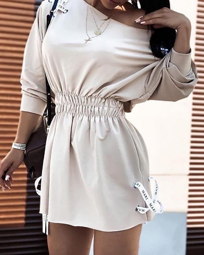 boutiquefeel / Vestido estilo sudadera fruncido con ojales y cordones