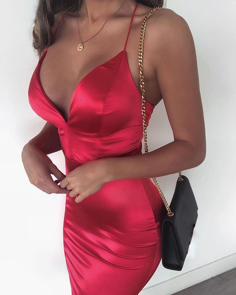 Spaghetti Strap Solid Party Dress фото