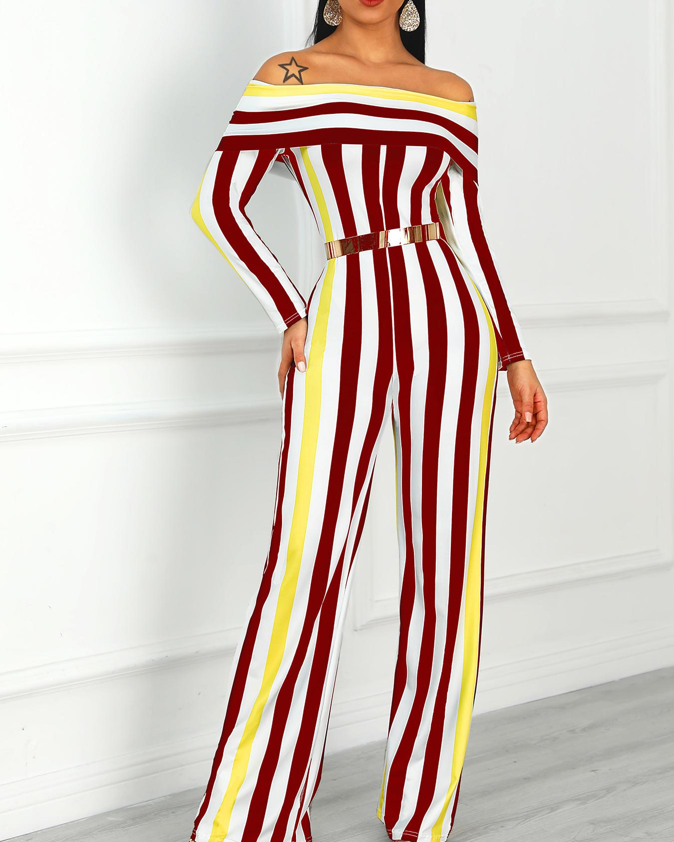 Contrast Stripes Fold-Over Wide Leg Jumpsuit
