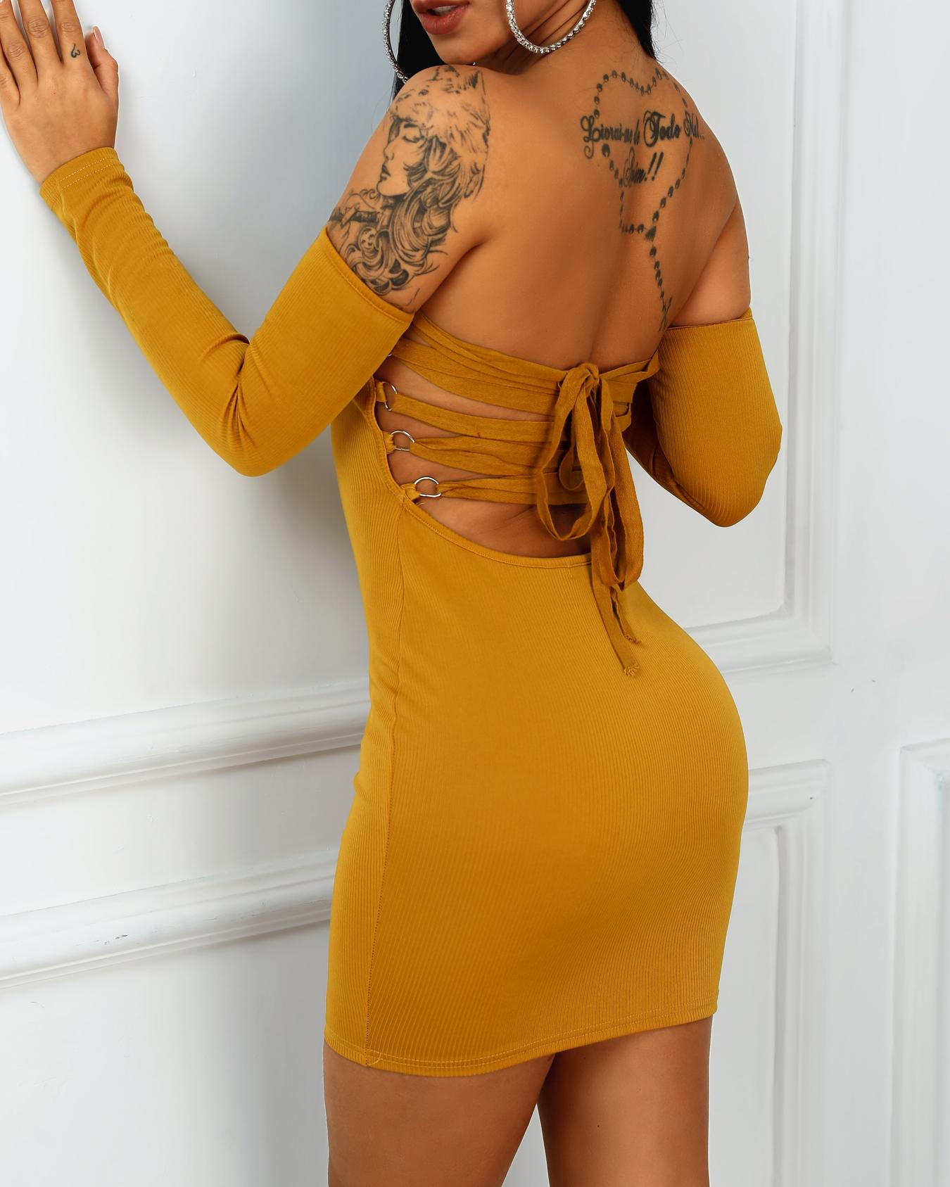 Off Shoulder Lace-Up Back Bodycon Dress