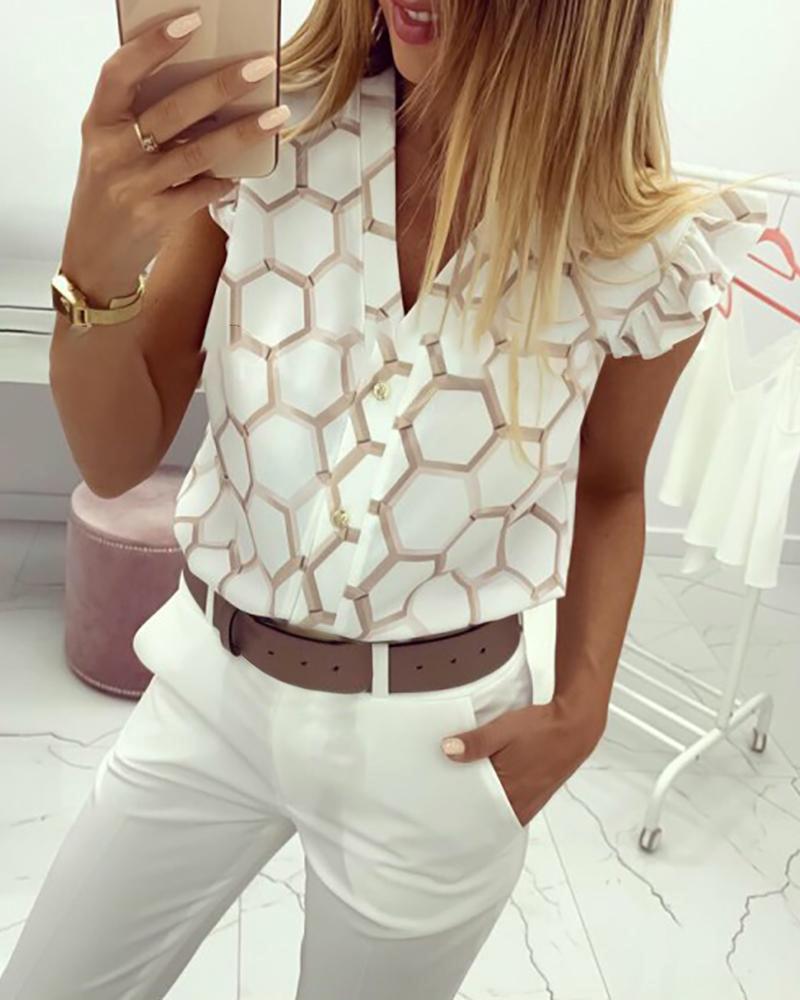 V-Neck Print Ruffles Casual Shirt фото