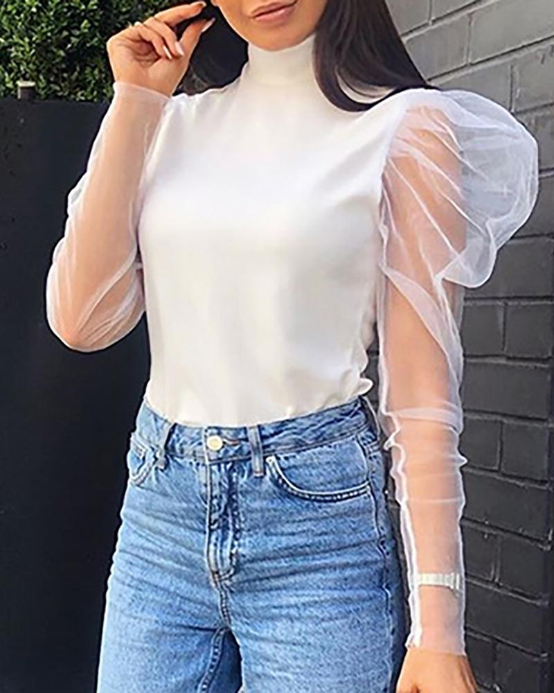 High Neck Sheer Mash Insert Blouse фото