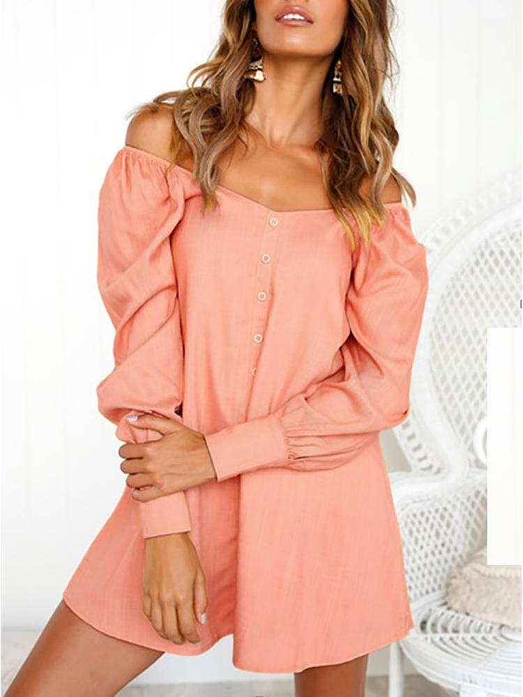 Off Shoulder Long Sleeve Button Casual Dress