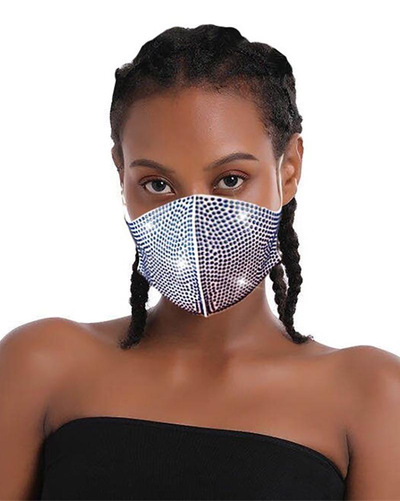 Daisy Pattern Colorblock Bling Rhinestone Face Mask фото