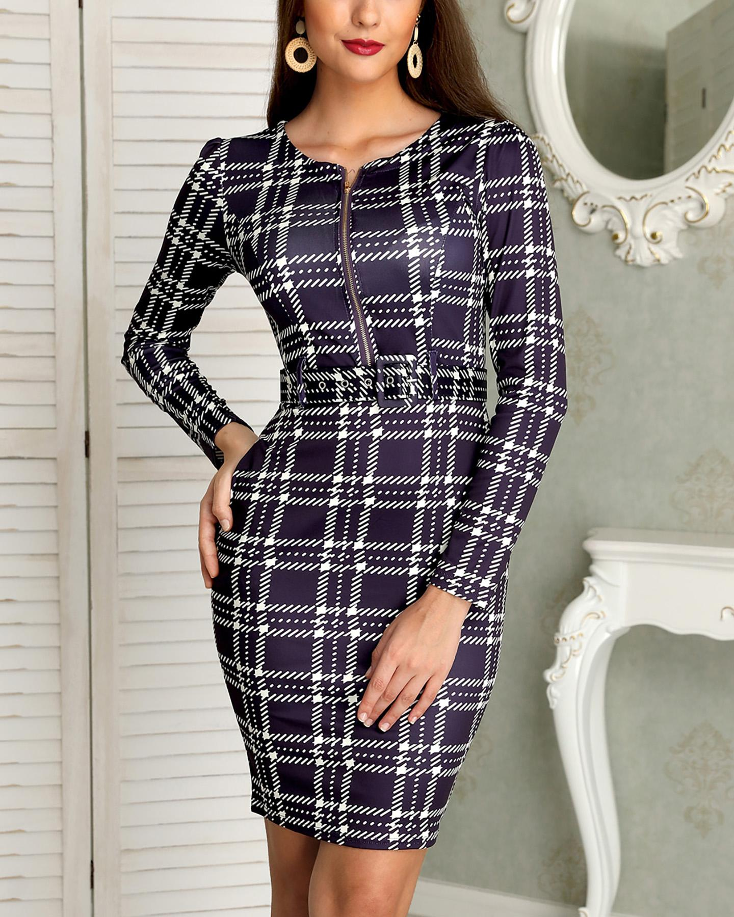 Plaid Print Long Sleeve Belted Bodycon Dress