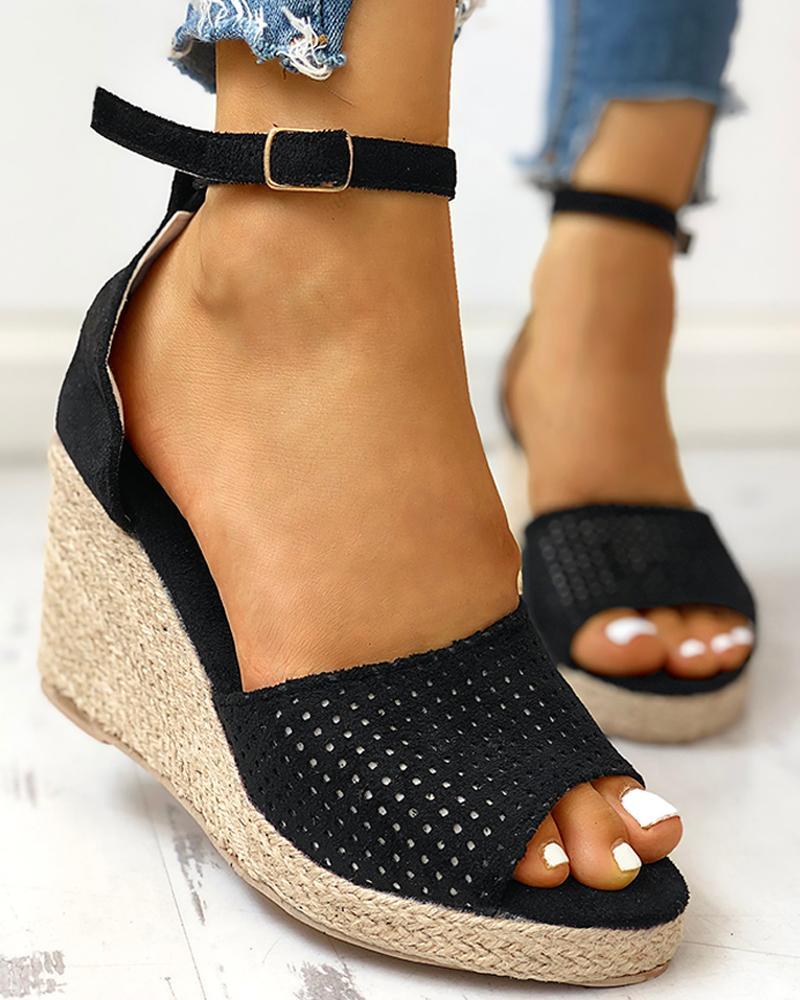 Ankle Strap Espadrille Wedge Sandals, Black