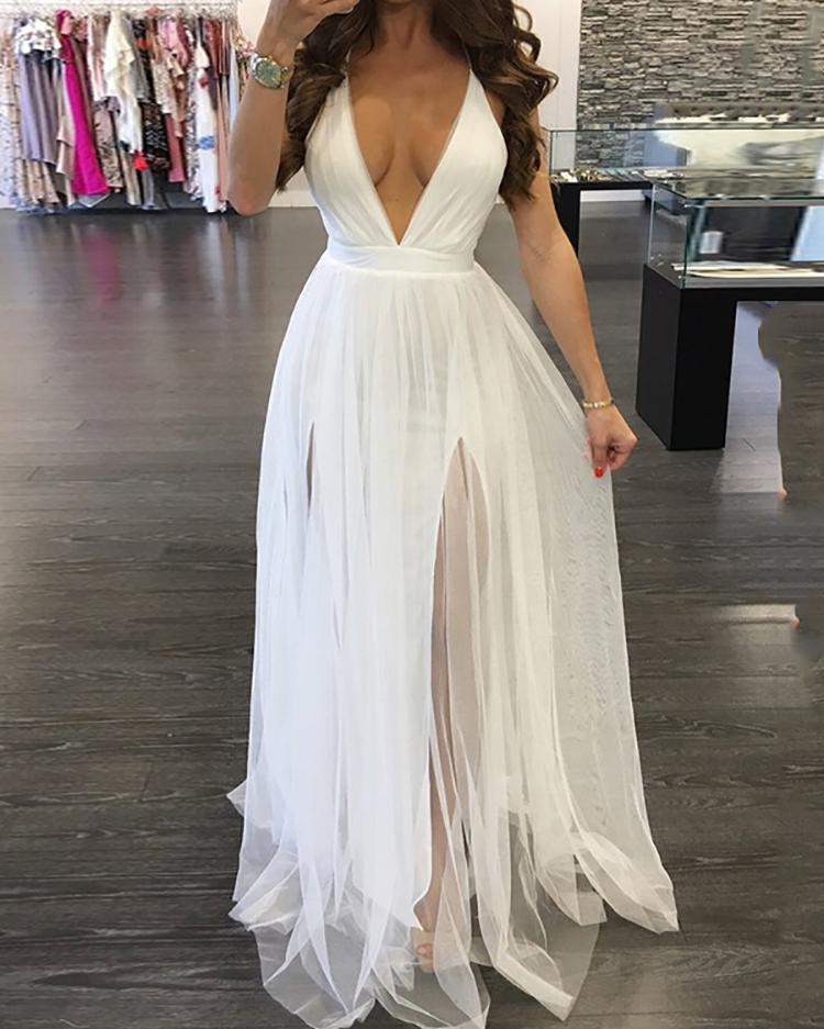 Sexy Pleated Mesh Patchwork Deep V Neck Slip Maxi Dress