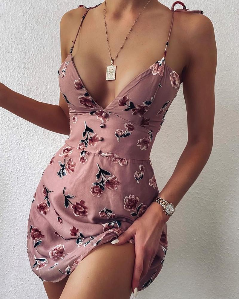 V-neck Spaghetti Strap Floral Print Dress фото