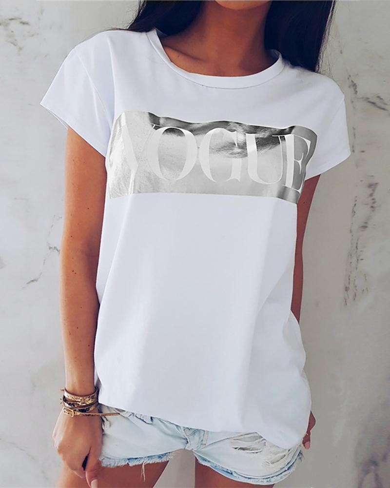 Letter Pattern Short Sleeve O-neck Tee фото