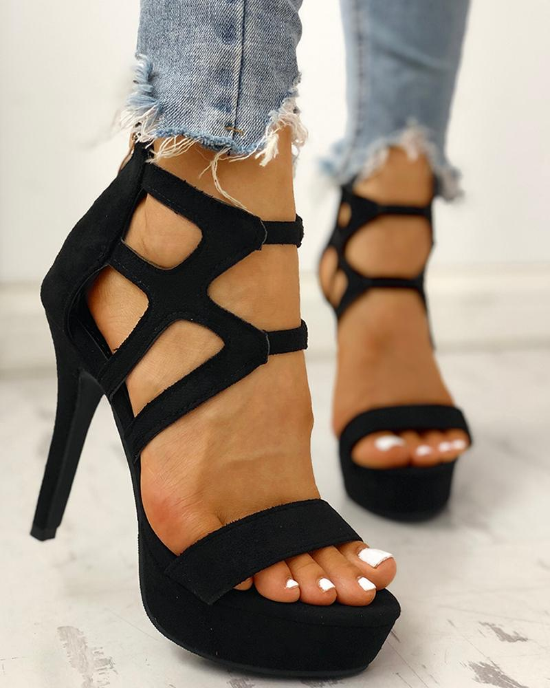 ivrose / Suede Cutout Platform Thin Heeled Sandals
