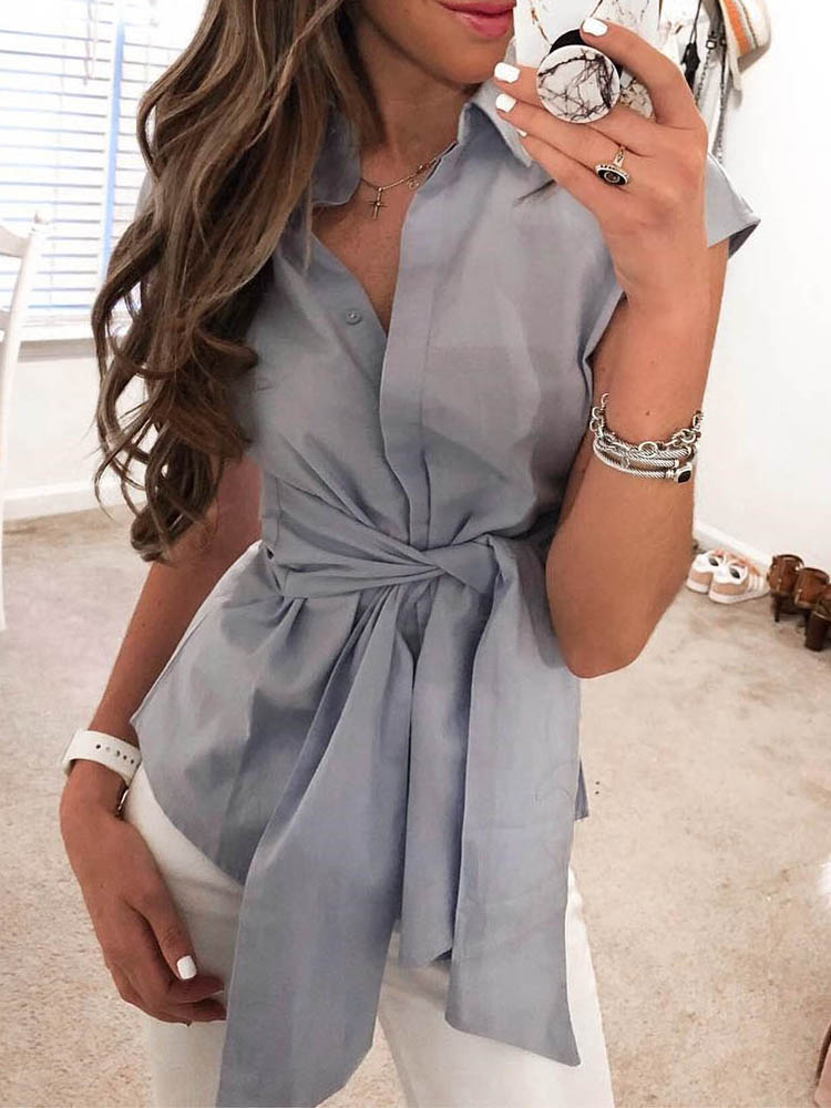 Solid Short Sleeve Tie Waist Blouse