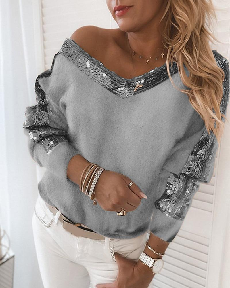 chicme / Sequins Contrast Fluffy Long Sleeve Sweater