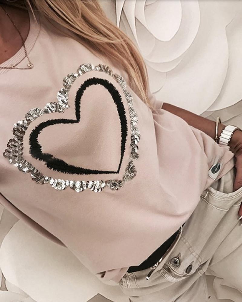 Sequins Heart Pattern Round Neck Long Sleeve Casual Sweatshirt фото