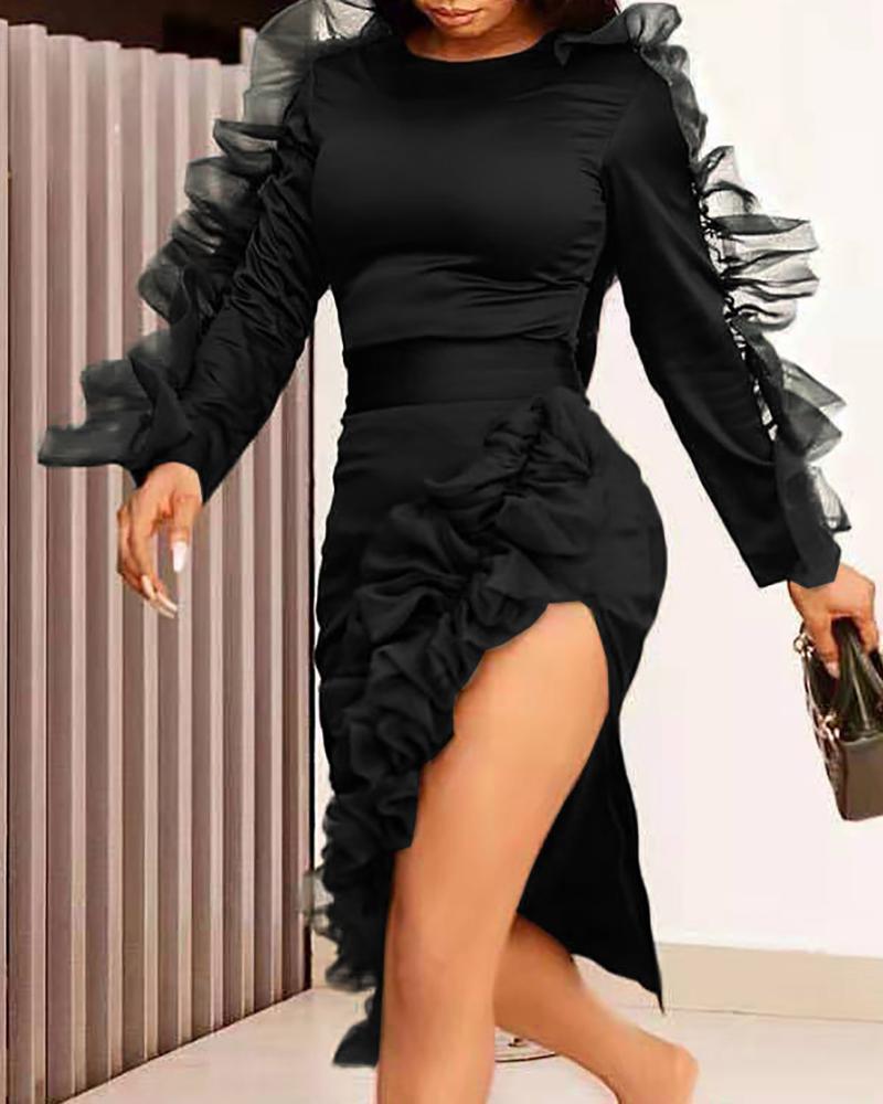 Solid Round Neck Frill Mesh Insert Slit Bodycon Dress, Black