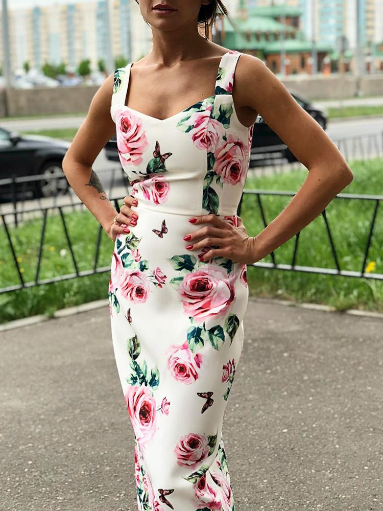 Floral Print Thick Strap Sheath Dress