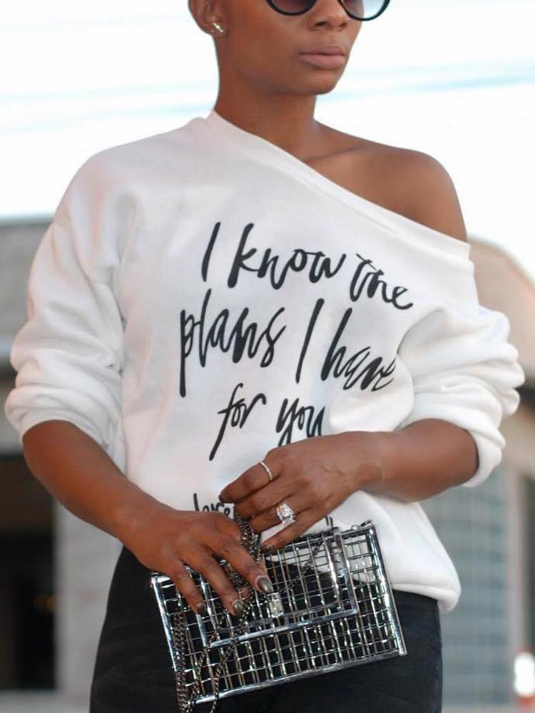 Skew Neck Letter Print Long Sleeve T-shirt, White