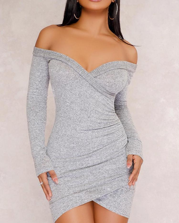 Off Shoulder Wrpped Slinky Bodycon Dress