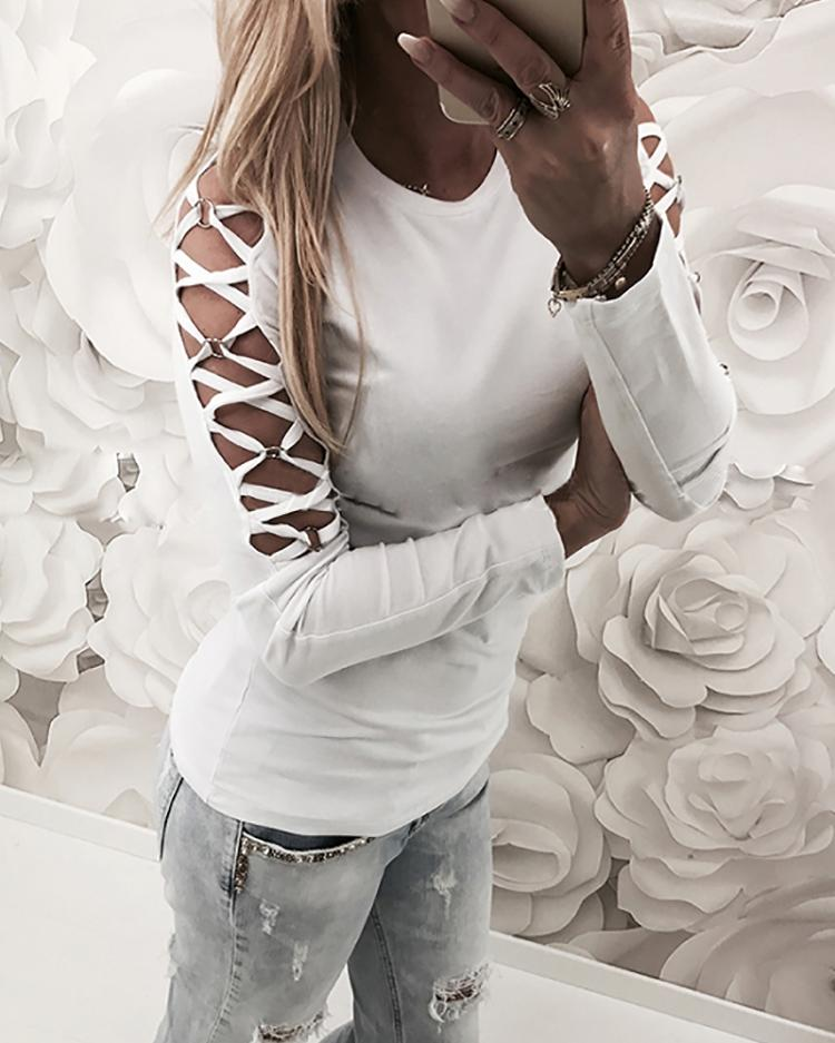 Stylish Lace-up Sleeve Slim Fit Top